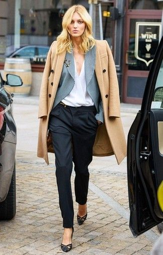 Women's Grey Vertical Striped Blazer, White Long Sleeve Blouse, Camel Coat, Black Dress Pants, and Black Lace Pumps