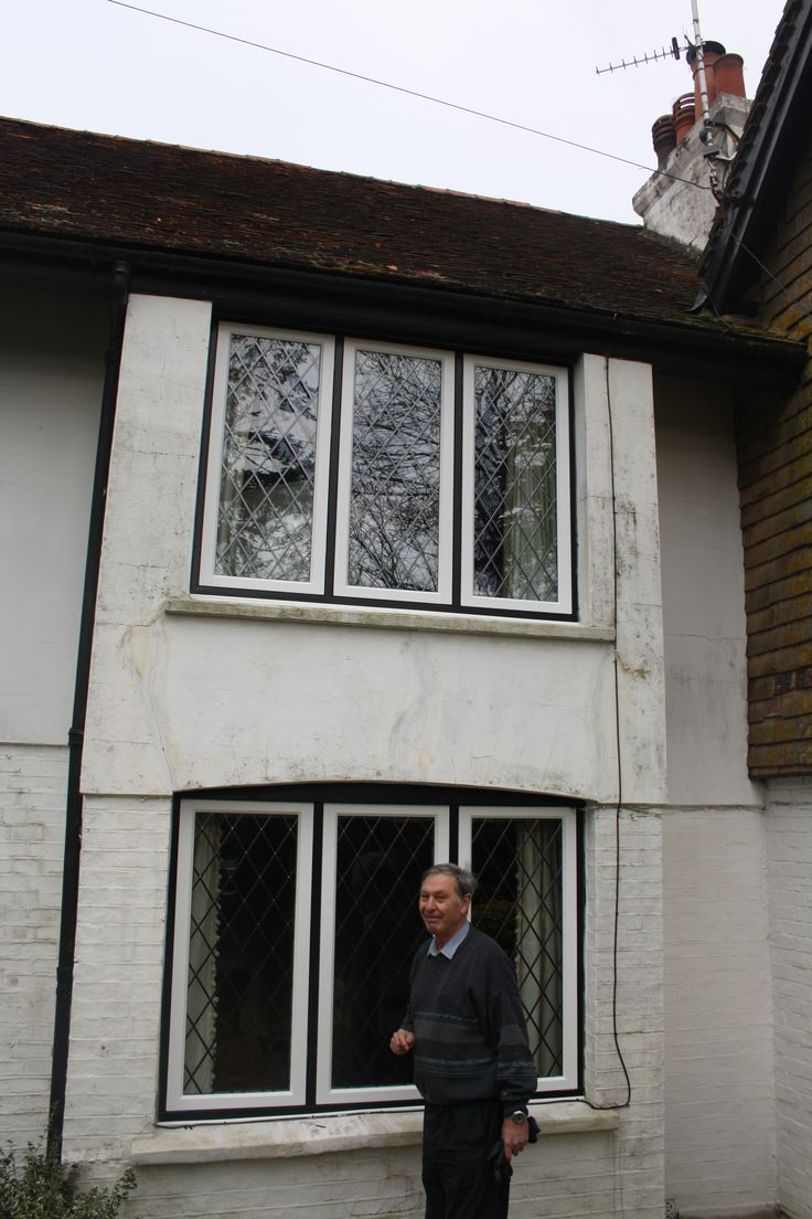 Privett Timber Windows - Replacement Timber Casement Windows with Leaded Lights in Tudor Look in Worcester Park, South West London. And a happy smiling customer :)