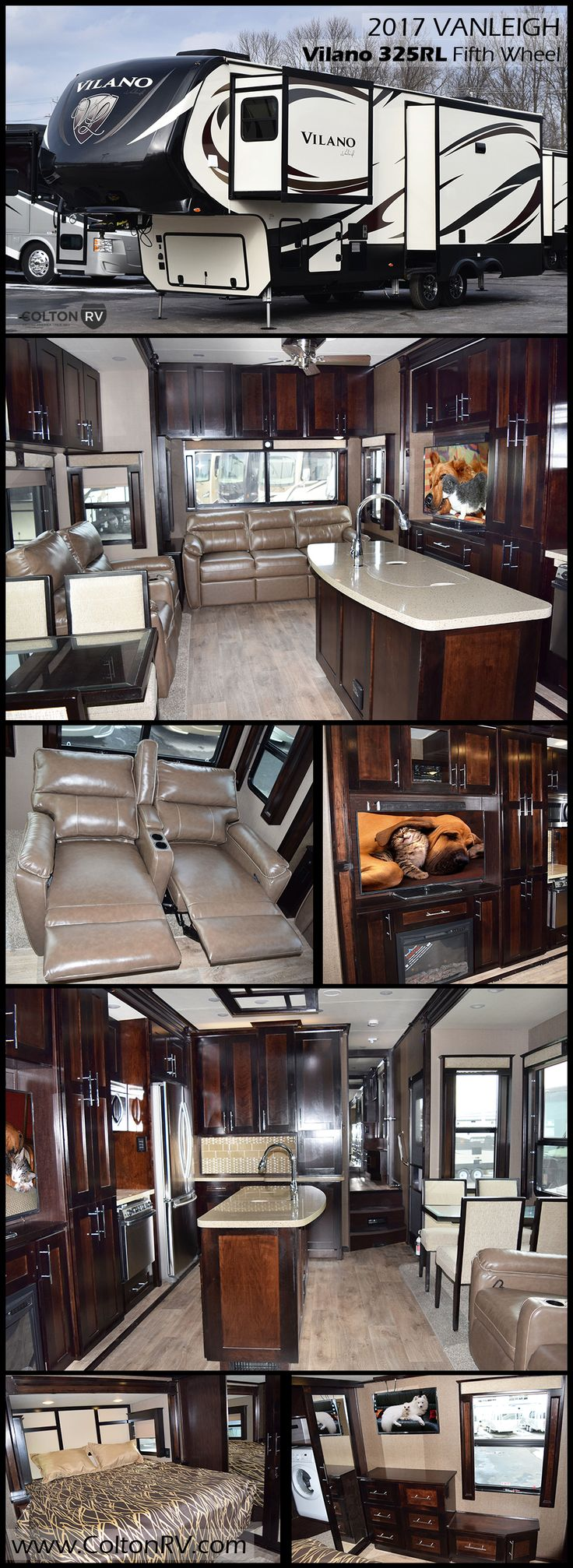 """One of the abundant advantages to being a Vilano customer is getting everything a """"luxury"""" fifth wheel offers without the price tag. This 2017 VANLEIGH VILANO 325RL Fifth Wheel presents all the elements one might need for an active weekend away or an extended vacation getaway. There is loads of storage, triple slides for added interior space and plenty of at-home features for you to enjoy while away from home in this 325RL."""