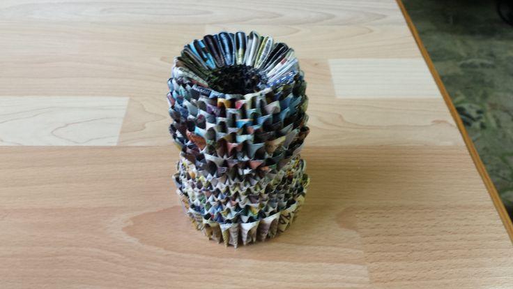 vasetto origami 3d con carta di rivista