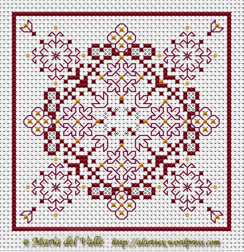 free chart for #biscornu cross stitch - this looks like a nice quick stitch!