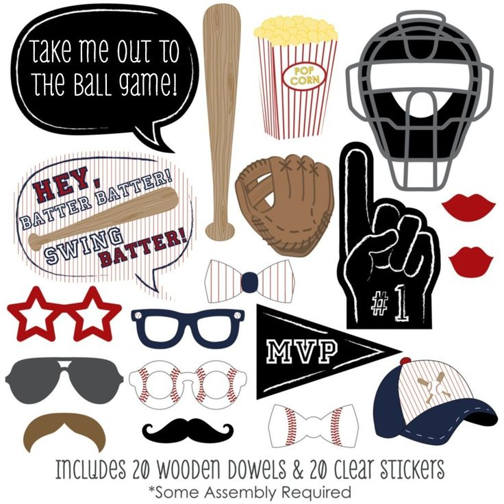 Amazon.com: Batter Up - Baseball Photo Booth Props Kit - 20 Count: Toys & Games
