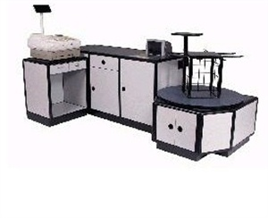 FK Check-out Stand, belt driven, laminated wood, or metal cabinets with stainless steel topFk Checkout