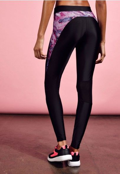 Active Contrast Print Panel Gym Leggings Pink - Gym Leggings & Yoga Pants - Missguided Active