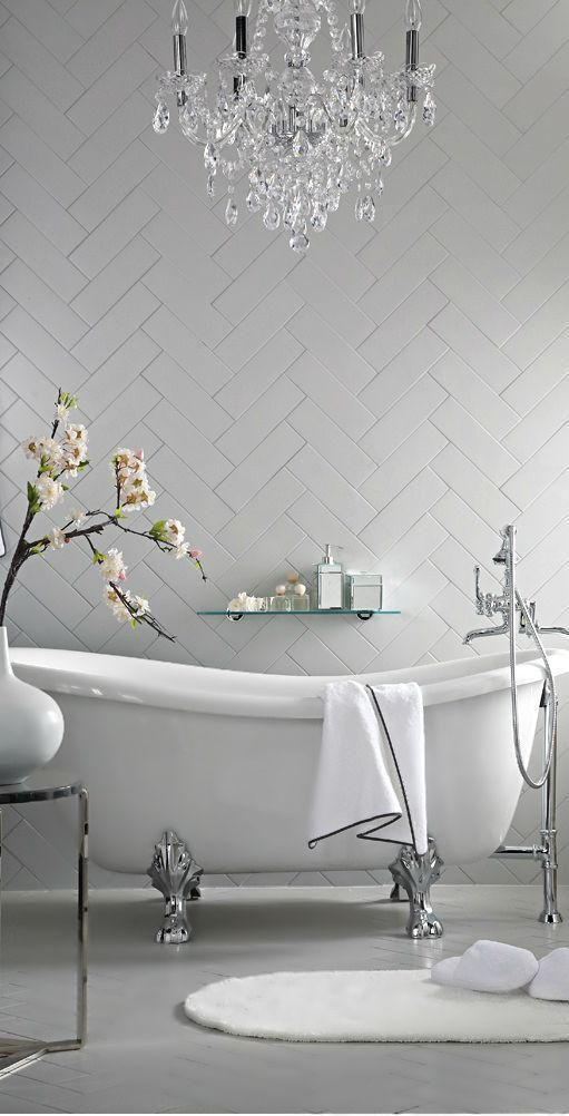 Freestanding Bath Tub With Chandelier And Chevron Tile Love The Idea Of A Free Standing Bath Tub