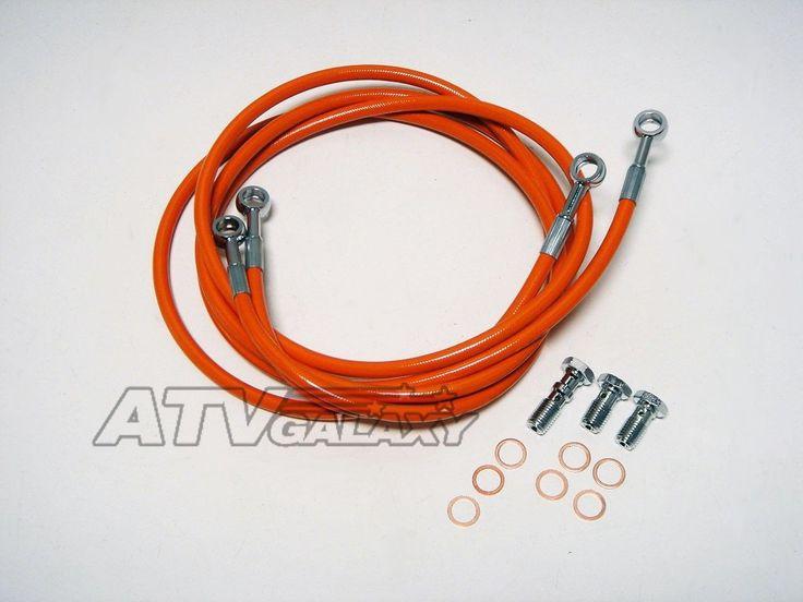 Streamline Front Orange Steel Braided Brake Lines KFX700 KFX 700 03 04 05 06