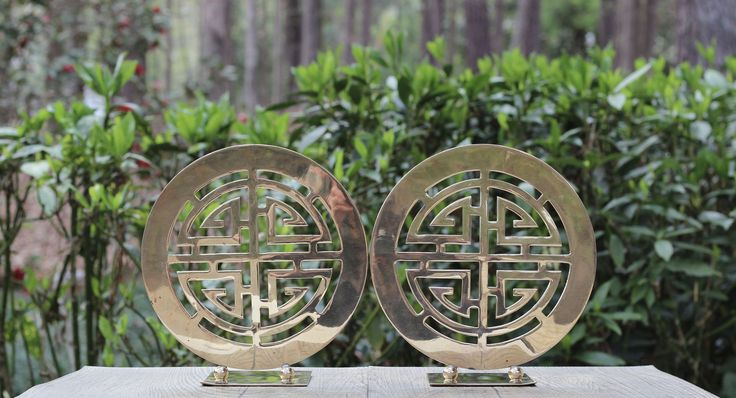 Pair of Very Large Vintage Asian Prosperity Brass Bookends / Large Round Brass Bookends / Asian Brass / Asian Decor  / Prosperity Symbol by theretrobeehive on Etsy