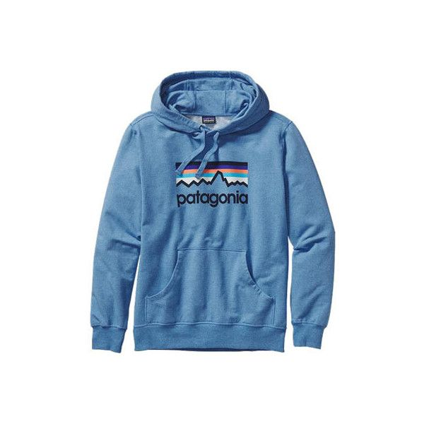 Men's Patagonia Line Logo Midweight Pullover Hoody - Andes Blue... ($79) ❤ liked on Polyvore featuring men's fashion, men's clothing, men's hoodies, blue, mens hooded sweatshirts, mens sweatshirts and hoodies, mens hoodie, mens sport hoodies and mens blue hoodie