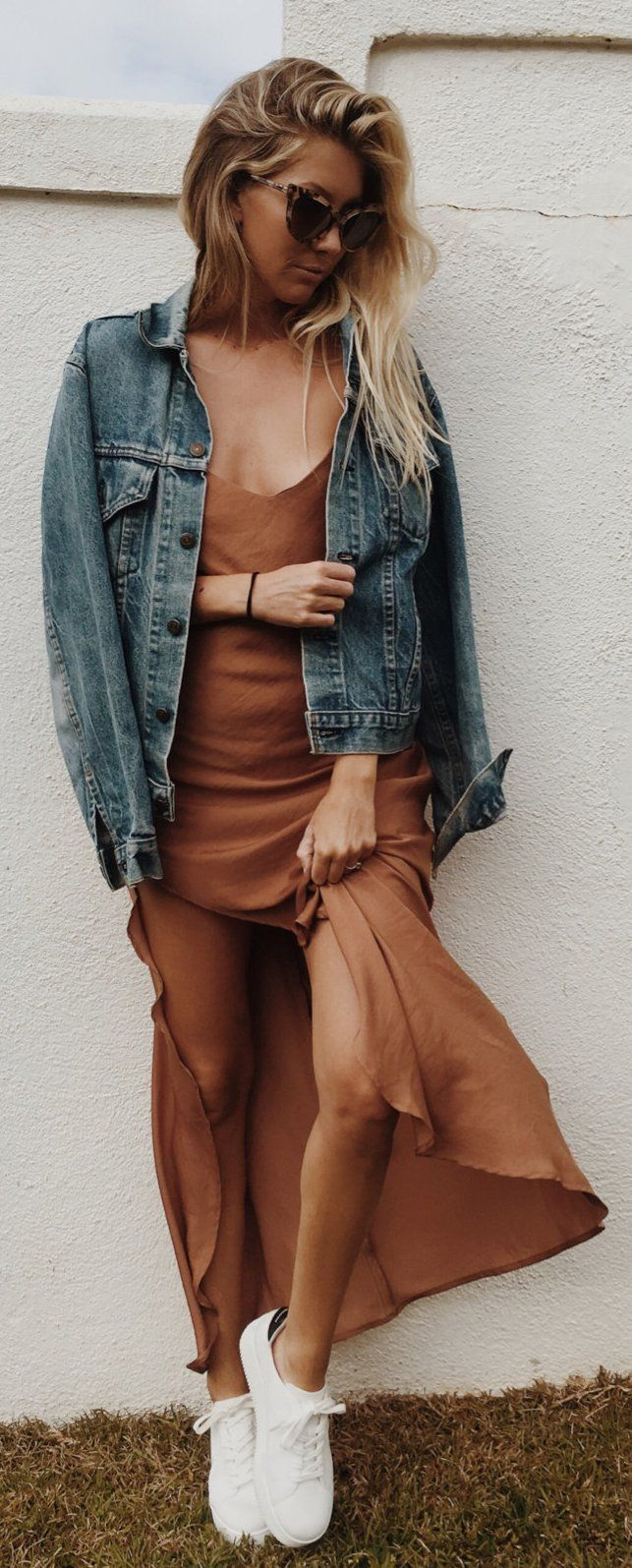 Denim Jacket / Brown Maxi Dress / White Sneakers