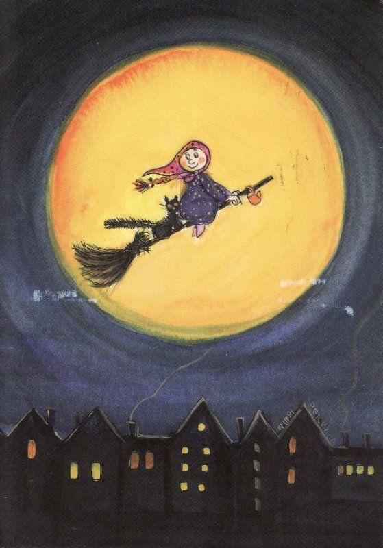 Flying around the moon. Happy Halloween! by Virpi Pekkalan