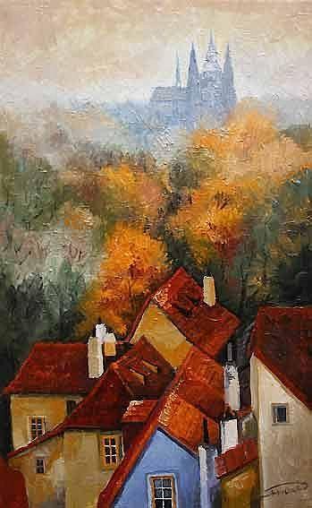 """""""Prague Novy Svet 01"""" - by Yuriy Shevchuk,  ~ Oil"""