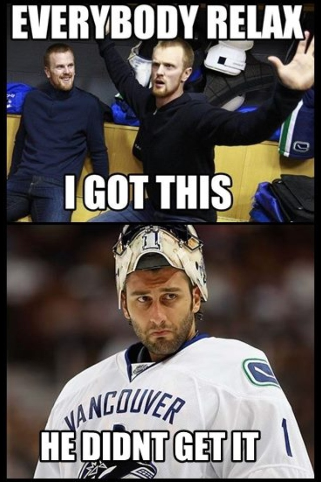 Vancouver Canucks  Luongo......sad...Aww Lighten up fellow fans.. It is funny. LOL