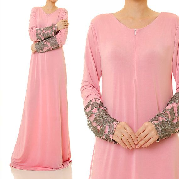 Rose Quartz Jersey Floral Laced Sleeves Abaya by Tailored2Modesty
