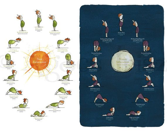 Sun Salutation and Moon Salutation sequence. [artractions at etsy.com]