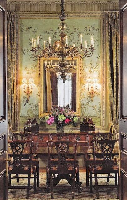 Elegant traditional dining room with Chinoiserie wallpaper.