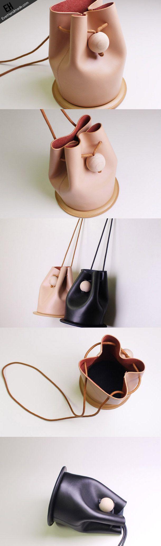 Handmade Leather bucket bag shoulder bag black beige for women leather crossbody bag