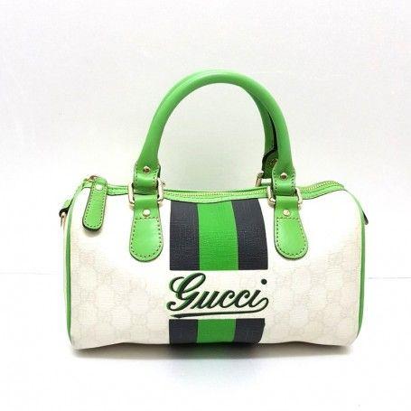 GUCCI Borsa a mano bauletto tela e pelle colore bianco e verde ... abd8c0ff1421