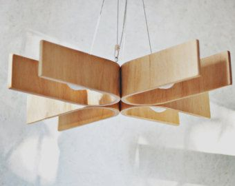 Floor lamp 3 from bent plywood with natural wood by zyrRafo