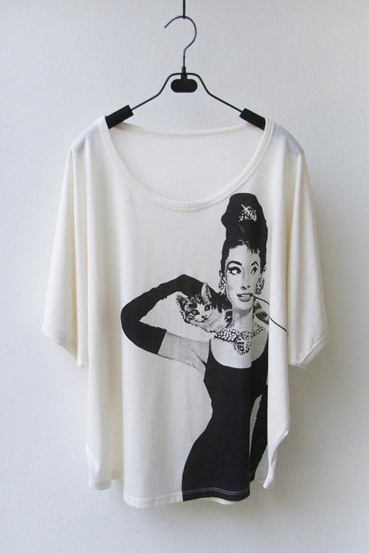 SALE Audrey Hepburn - Women Tank Top Oversized Shirt Batwing in CREAM. $18.90, via Etsy.