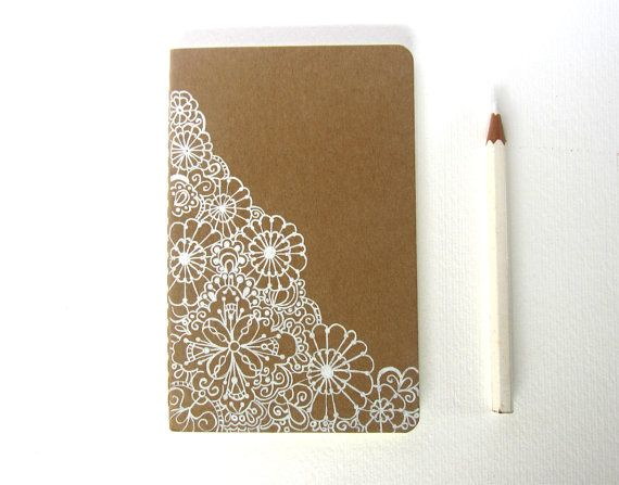 Notebook illustrato a mano, pizzo e merletto, matrimonio on Etsy, 11,96€