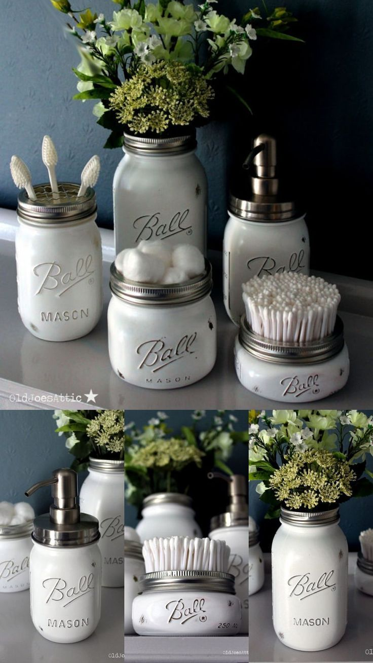 Handmade Shabby Chic   Vintage Style Ball Mason Jar Bathroom   Vanity Set in White distressed finish. Why not add a splash of vintage charm to your Bathroom with this stunning shabby chic mason jar Bathroom set! Each item is available to buy individually or alternatively as a complete set at a discounted price! #masonjar #bathroom #shabbychic #decor #vintage #ad #shabbychicbathroomssmall #vintagebathrooms #shabbychicbathroomsvanity