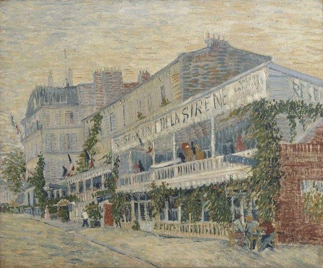 """""""Restaurant de la Sirène at Asnières"""" """"Le restaurant de la Sirène à Asnières"""" (Summer, 1887) [F 313] By Vincent van Gogh, from Zundert, Netherlands (1853 - 1890) - oil on canvas; 54.5 x 65.5 cm - © Musée d'Orsay, Paris 1921, accepté par l'Etat à titre de legs de Joseph Reinach pour le musée du Louvre  http://www.musee-orsay.fr/"""