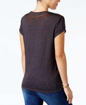 Goodie Two Sleeves Juniors' Ac/Dc Graphic Burnout T-Shirt - Black XL