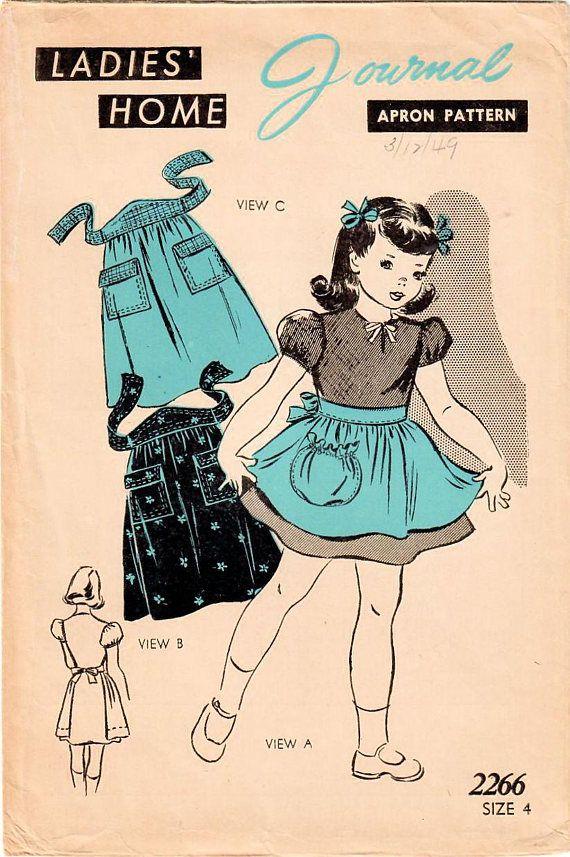 1940s Ladies Home Journal 2266 Vintage Sewing Pattern Girls