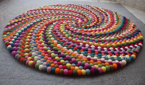 Felt Ball Rug Rainbow Colorful Pom