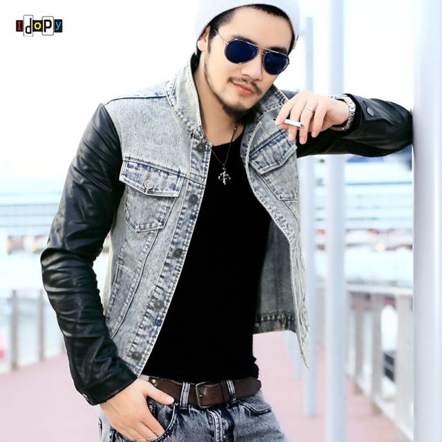 Check lastest price Fashion Men`s Denim Jacket With Leather Sleeves Slim Fit Vintage Patchwork Acid Washed Jean Jacket For Men just only $33.94 with free shipping worldwide  #jacketscoatsformen Plese click on picture to see our special price for you