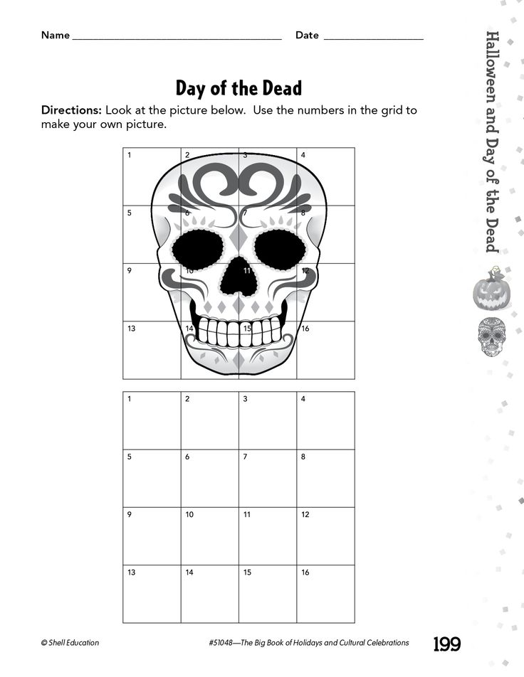 In this activity from Shell Education's Big Book of Holidays and Cultural Celebrations, students can practice drawing eye-catching decorations for the Day of the Dead by using a grid!