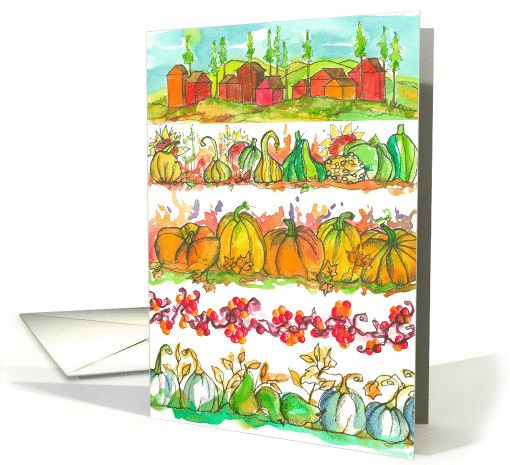 Autumn Season Greetings Pumpkins Watercolor card by Cathie Richardson #anycardimaginable
