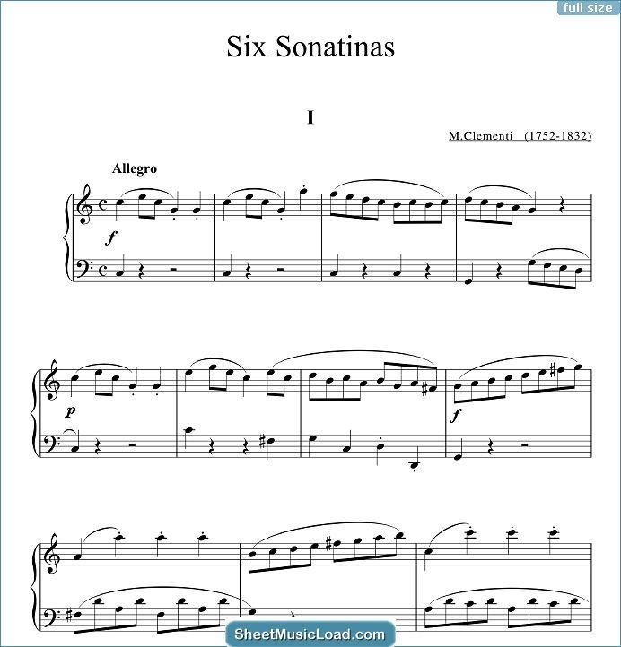 Six Sonatinas Op 36 Sheet Music For Piano Solo By Muzio Clementi