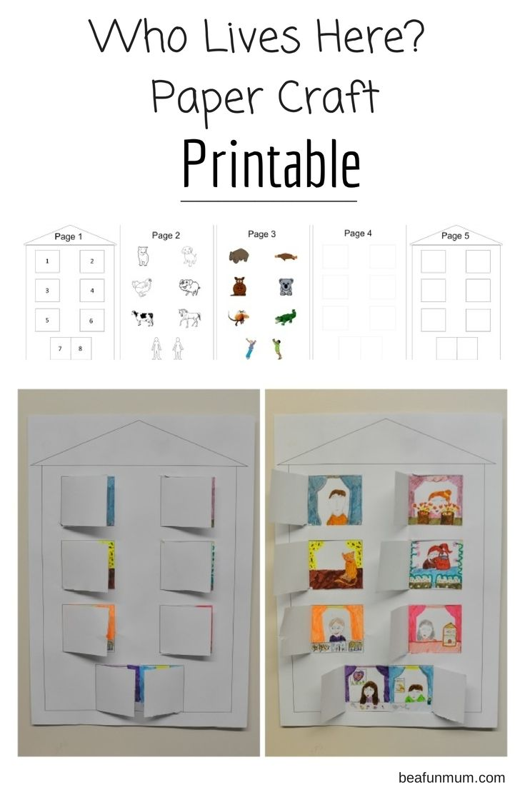 An easy paper craft for kids of various ages. Great for a drawing activity for older kids (blank window template) and colouring in characters for younger kids.  Who lives here? Printable -> http://beafunmum.com/2014/07/simple-paper-craft-kids-printable/