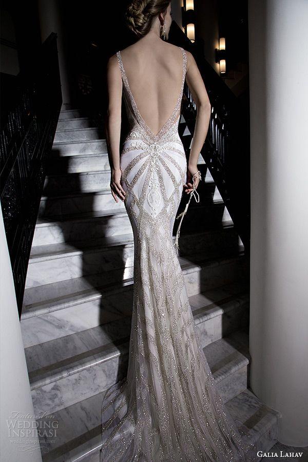 galia lahav 2015 jazz age wedding dress embroidered strap plunging neckline corset bodice ivory low cut back art deco sheath bridal gown katharina 1501