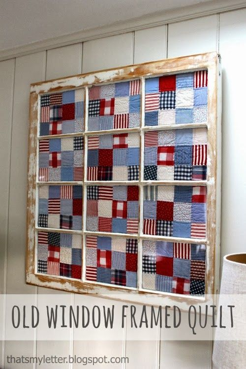 "That's My Letter: ""O"" is for Old Window Art, framed quilt using old reclaimed window"