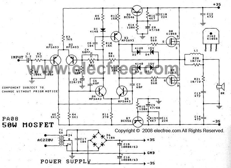 50w mosfet amplifier circuit OCL using K1058 + J162 is