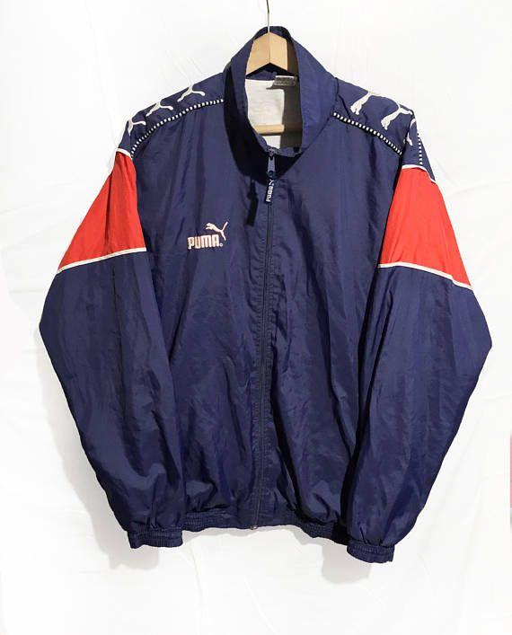 10fd28a6203f Vintage 90s Puma Hip Hop Rap Style Windbreaker Jacket Sleeve Logo ...