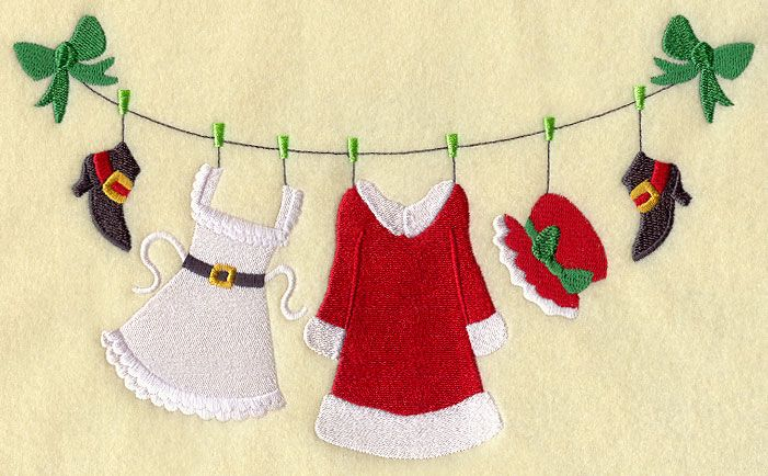 Machine Embroidery Designs at Embroidery Library! - Mrs. Claus Clothesline