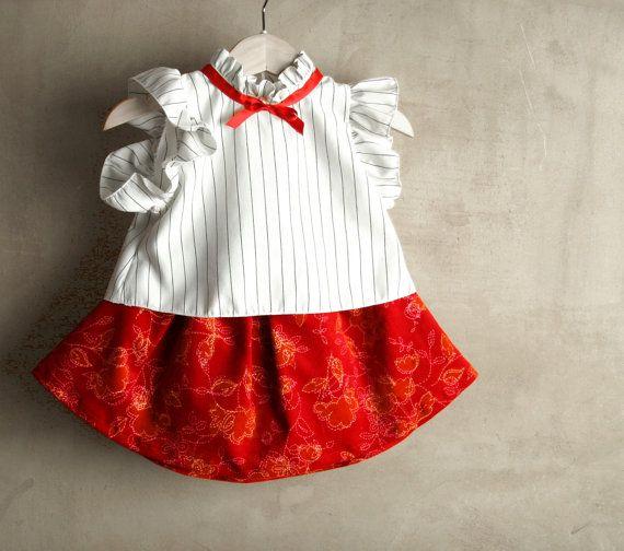 Abito di Natale: Camicetta, gonna in velluto rosso e fascia capelli  per neonata e bambina by PABUITA #italiasmartteam #etsy