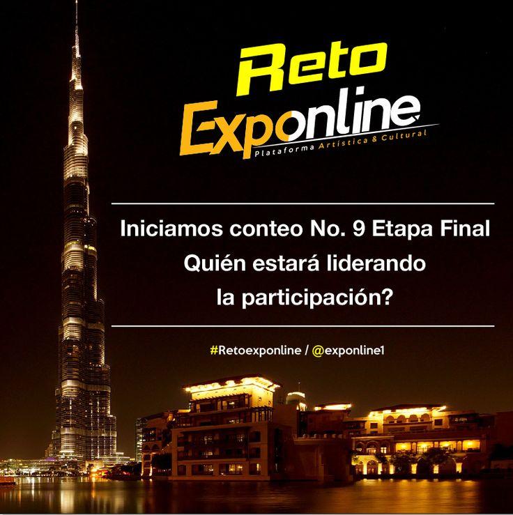 #Retoexponline iniciamos conteo No.9 para esta gran final! Un saludo para nuestros participantes y Comunidad!