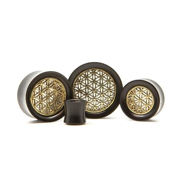 Brass Flower Of Life Wood Tunnel | UK Custom Plugs - Ear Gauges, Flesh Tunnels for Stretched Ears