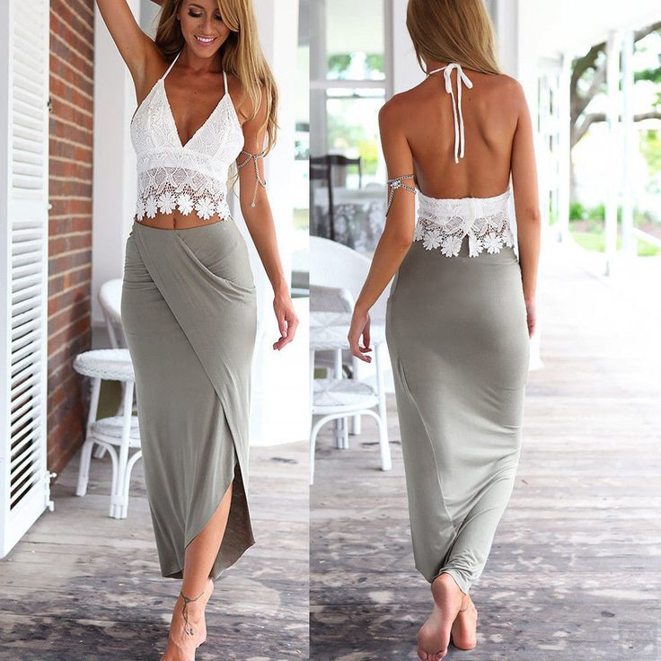 Style: halter lace vest   skirt. 1 x Crop Top 1 x Wrap Skirt. Soft and breathable polyester material, comfortable to touch and wear. Color:white  gray. C.  800.00