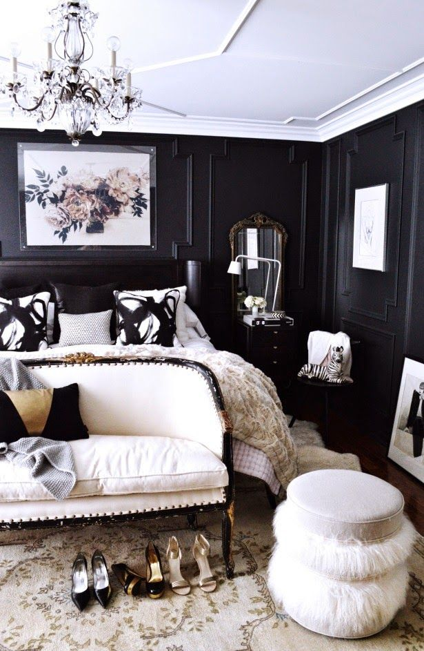 Black And White Bedroom Modern Glam Walls