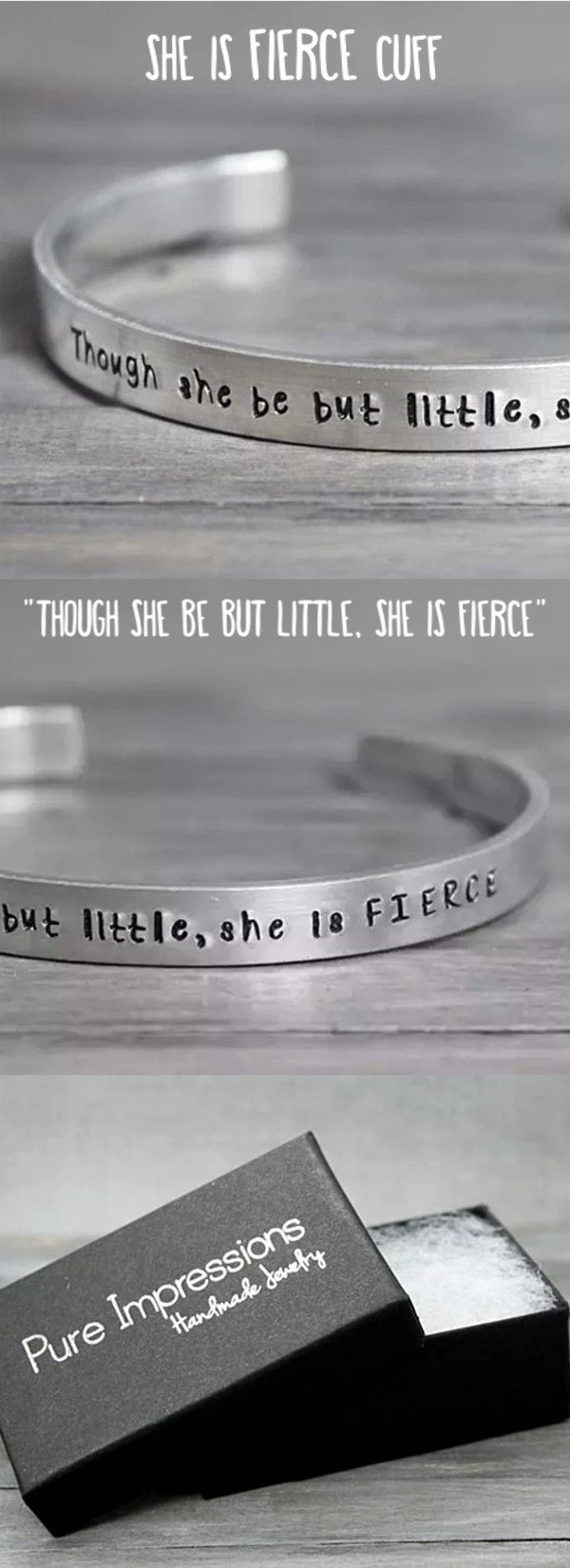 Though she be but little, she is FIERCE. This Shakespeare quote cuff is the perfect gift! Pure Impressions creates its hand stamped jewelry and inspiration jewelry one at a time.