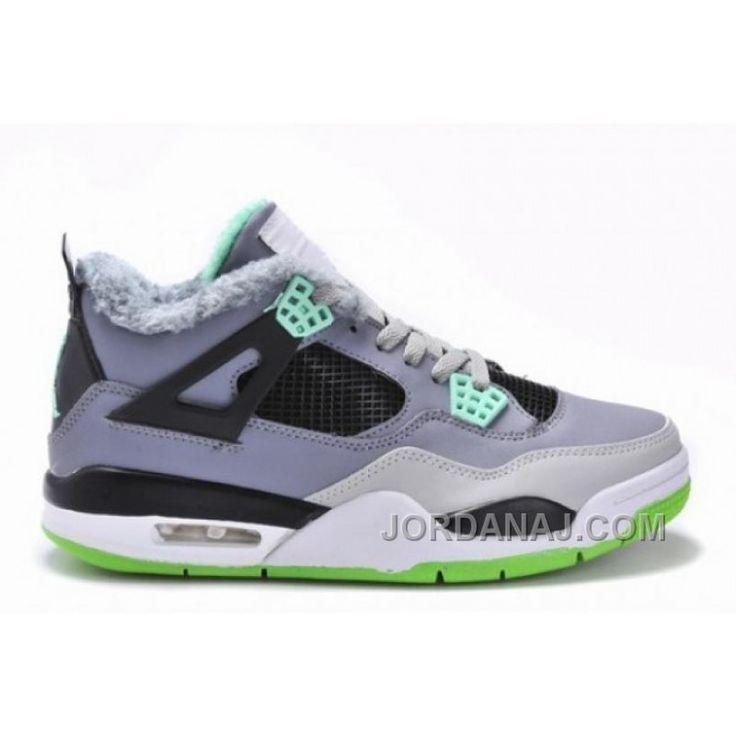 Air Jordan IV(4) Retro Grey/Green Fur-70, Price: $89.00 - Air Jordan Shoes, 2016 New Jordan Shoes, Michael Jordan Shoes - JordanAJ.com