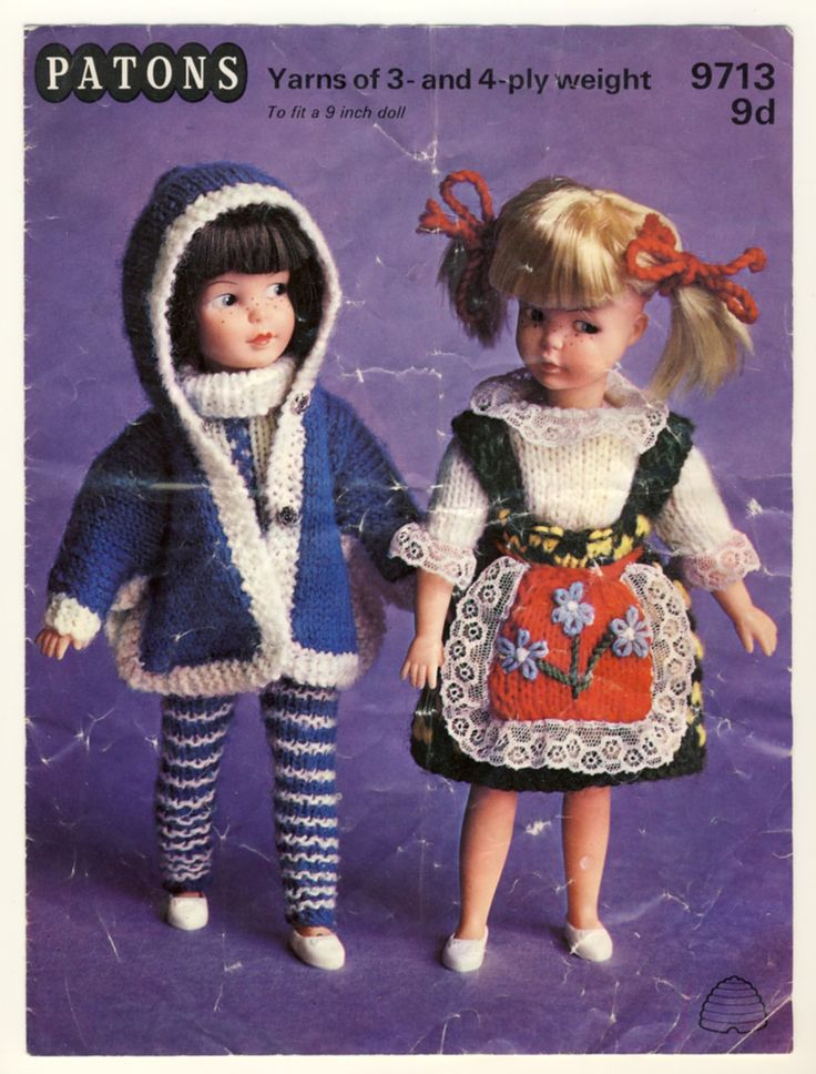 "Vintage 1966 Patch dolls knitting pattern. Patons #9713 - to fit 9"" dolls. Make a 3 piece Winter outfit or an Austrian outfit. Cover has scuffmarks and creases but clean inside."