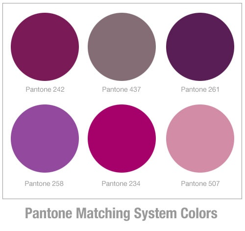 Colour Matches I Think Pantone 242 Would Be A Perfect Balance Between Rich And Bright The 437 Is Very Similar To Fren