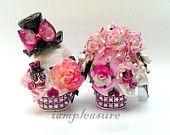 Skull rosa rose Hochzeiten cake Topper handgemachte Braut und Bräutigam