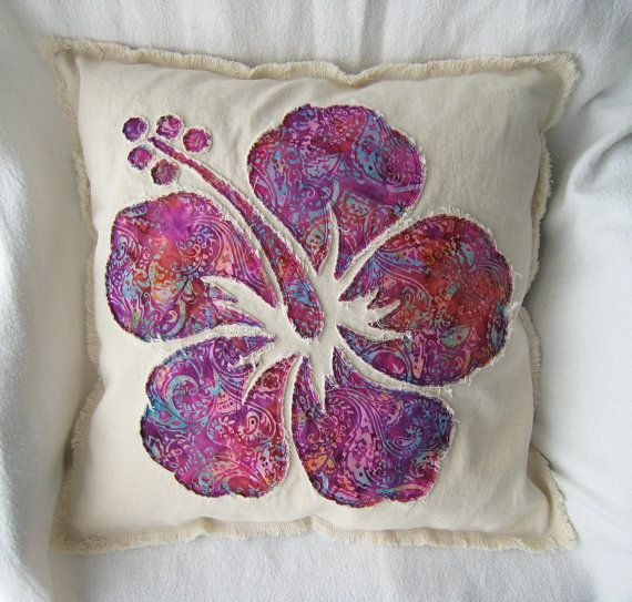 "Natural denim and fuchsia purple batik hibiscus flower boho pillow cover 18"""
